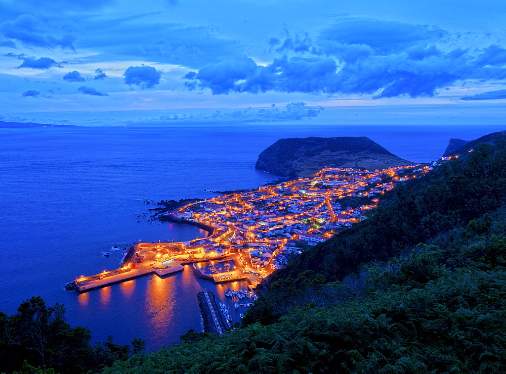 Velas at twilight, elevated view, Sao Jorge Island, Azores, Portugal