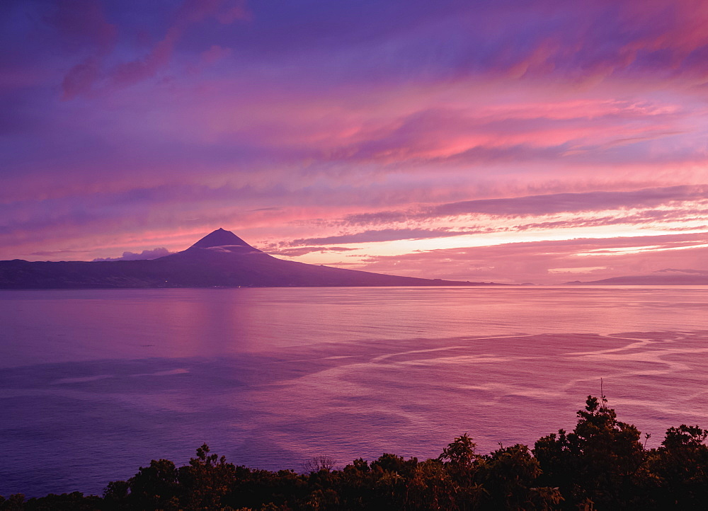 View towards the Pico Island at sunset, Sao Jorge Island, Azores, Portugal, Atlantic, Europe