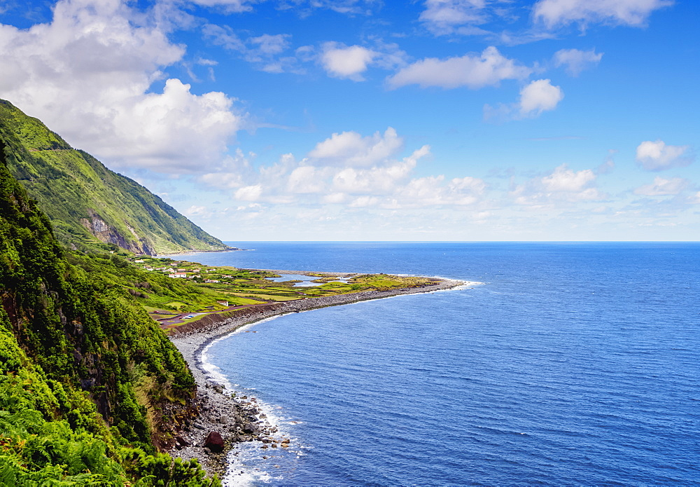 Coastal view towards the Faja dos Cubres, Sao Jorge Island, Azores, Portugal