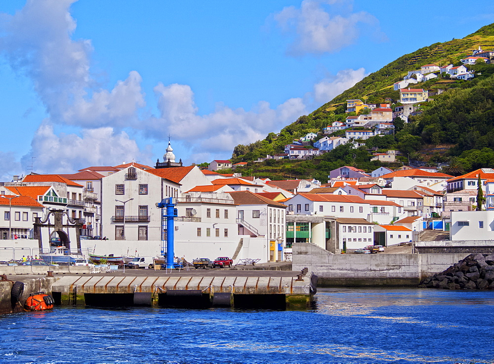 Velas seen from the ocean, Sao Jorge Island, Azores, Portugal