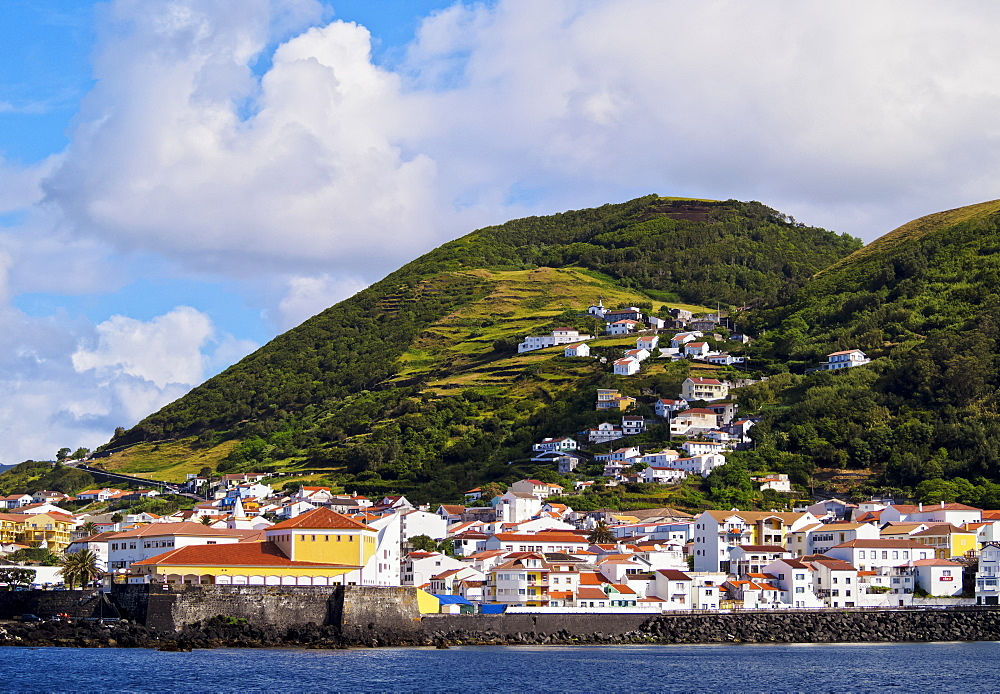 Velas seen from the ocean, Sao Jorge Island, Azores, Portugal, Atlantic, Europe