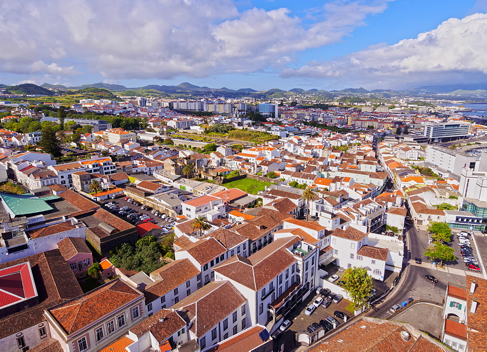 Ponta Delgada, elevated view, Sao Miguel Island, Azores, Portugal, Atlantic, Europe