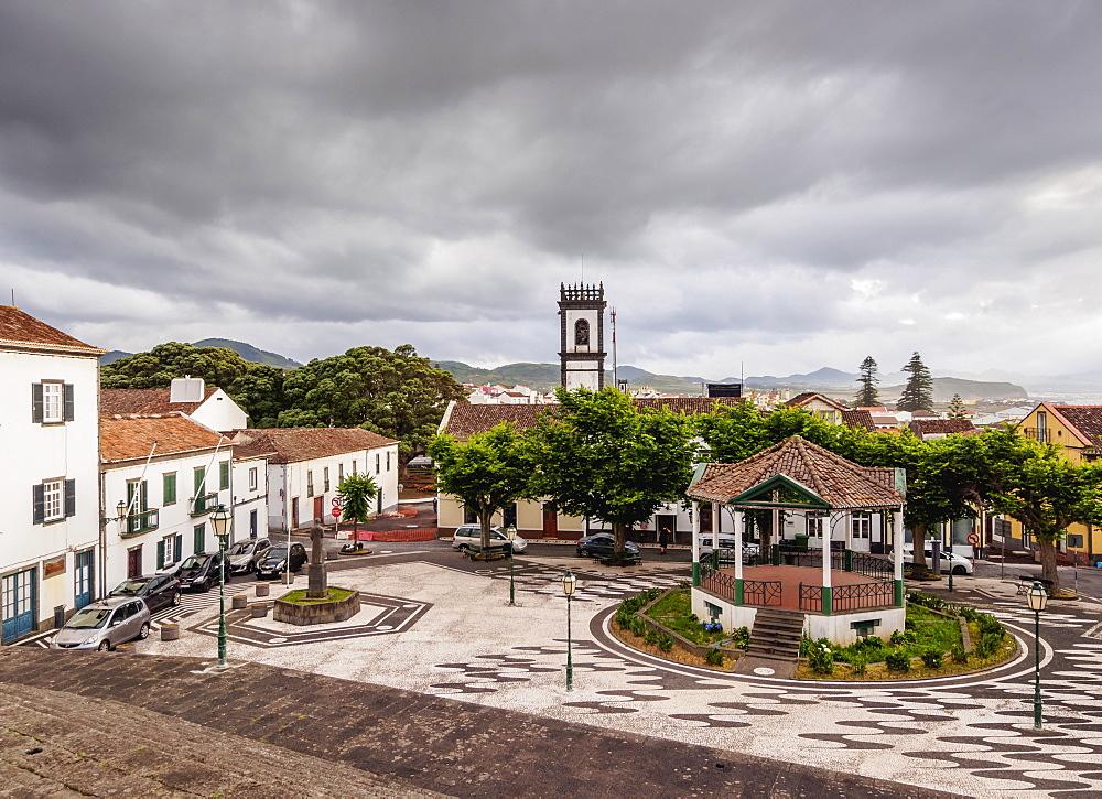 Main Square, elevated view, Ribeira Grande, Sao Miguel Island, Azores, Portugal, Atlantic, Europe