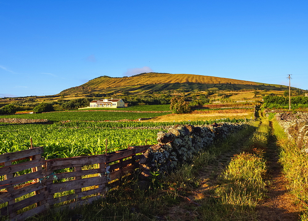 Landscape with Caldeira in the background, Graciosa Island, Azores, Portugal, Atlantic, Europe