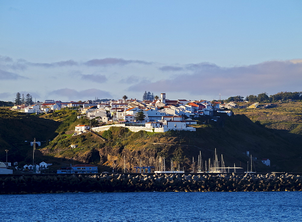 Vila do Porto seen from the ocean, Santa Maria Island, Azores, Portugal, Atlantic, Europe