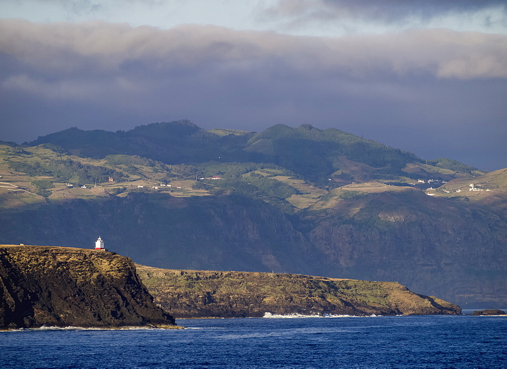 Coast of Santa Maria Island seen from the ocean, Azores, Portugal, Atlantic, Europe