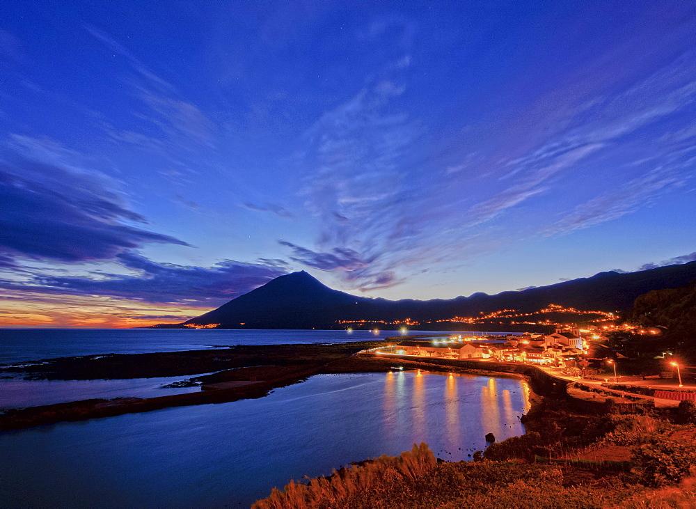 Lajes do Pico and Pico Mountain at dusk, Pico Island, Azores, Portugal, Atlantic, Europe