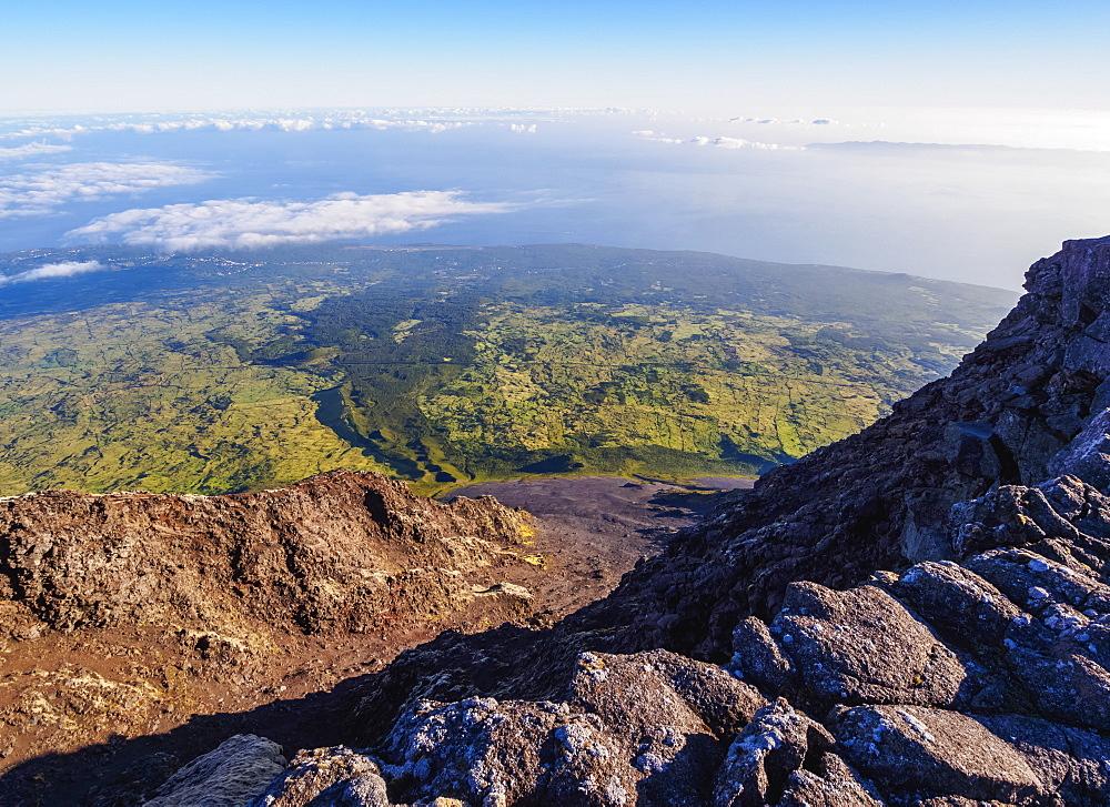 Edge of Pico Alto on the summit of Pico, Pico Island, Azores, Portugal, Atlantic, Europe
