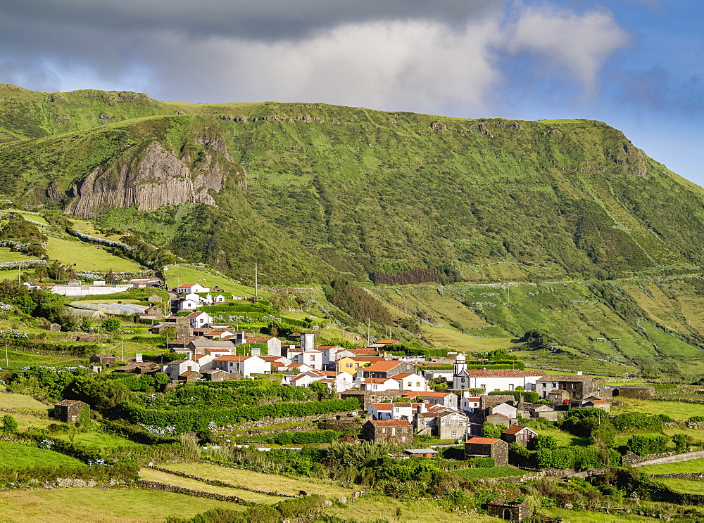View towards Mosteiro Village and Rocha dos Bordoes, Flores Island, Azores, Portugal, Atlantic, Europe