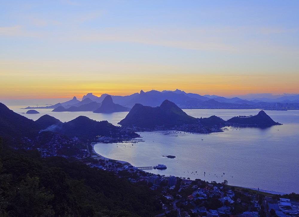 Sunset over Rio de Janeiro viewed from Parque da Cidade in Niteroi, Rio de Janeiro, Brazil, South America