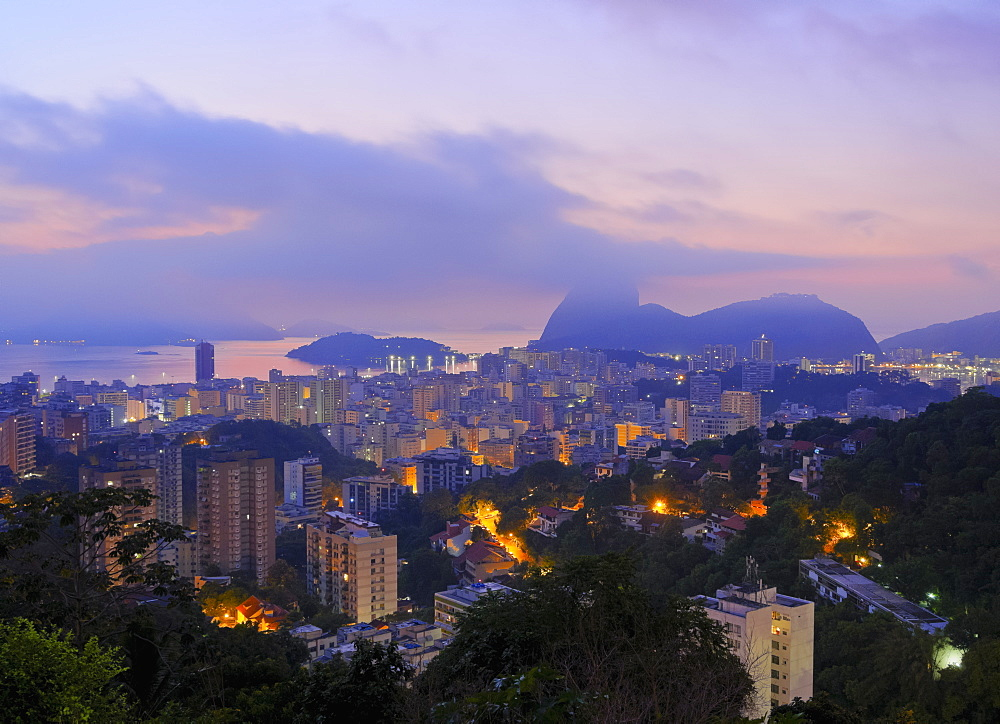 Twilight view over Laranjeiras towards Sugarloaf Mountain, Pereira da Silva, Rio de Janeiro, Brazil, South America