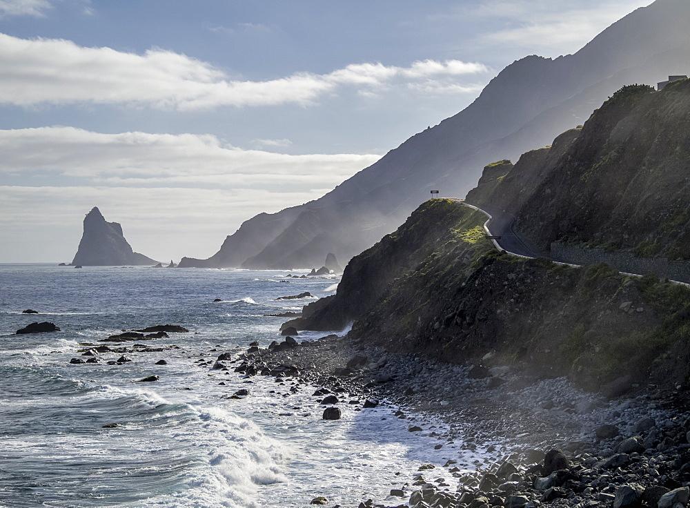 View towards the Roques de Anaga, Anaga Rural Park, Tenerife Island, Canary Islands, Spain, Atlantic, Europe