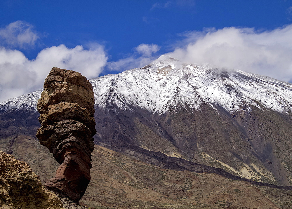 Teide Mountain covered with snow and Roques de Garcia, Teide National Park, Tenerife Island, Canary Islands, Spain - 1245-946