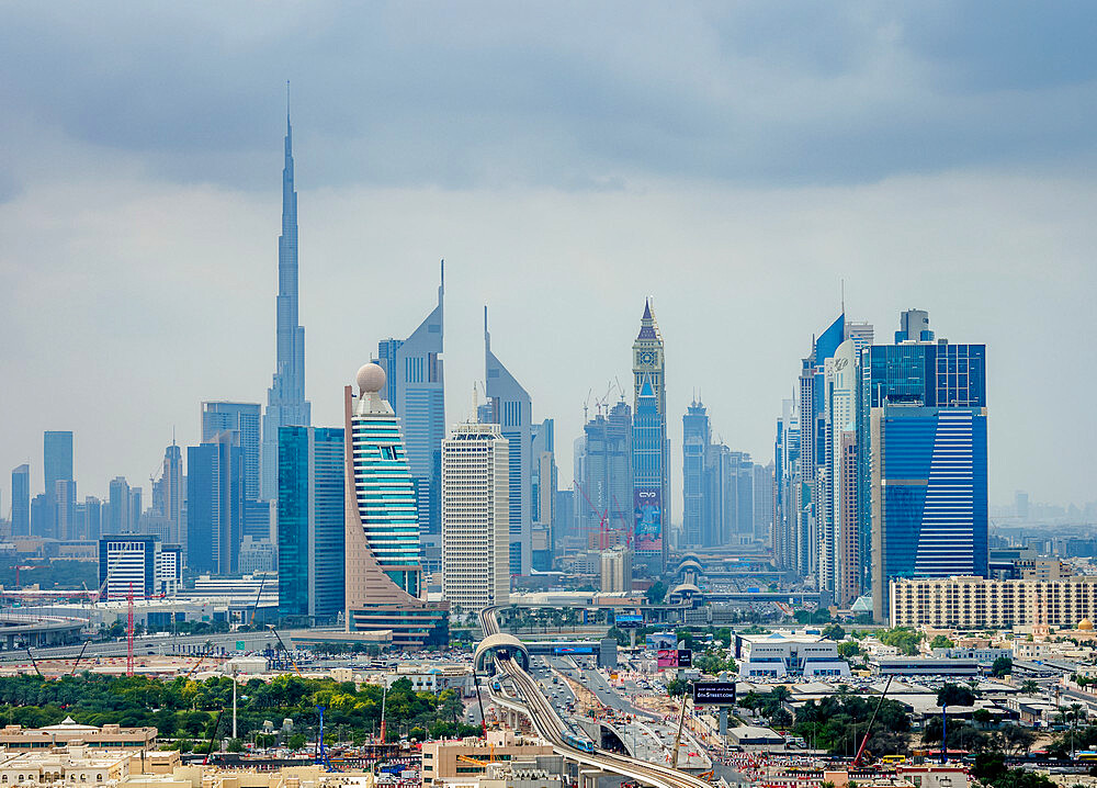 Financial Centre and Downtown, elevated view, Dubai, United Arab Emirates - 1245-961