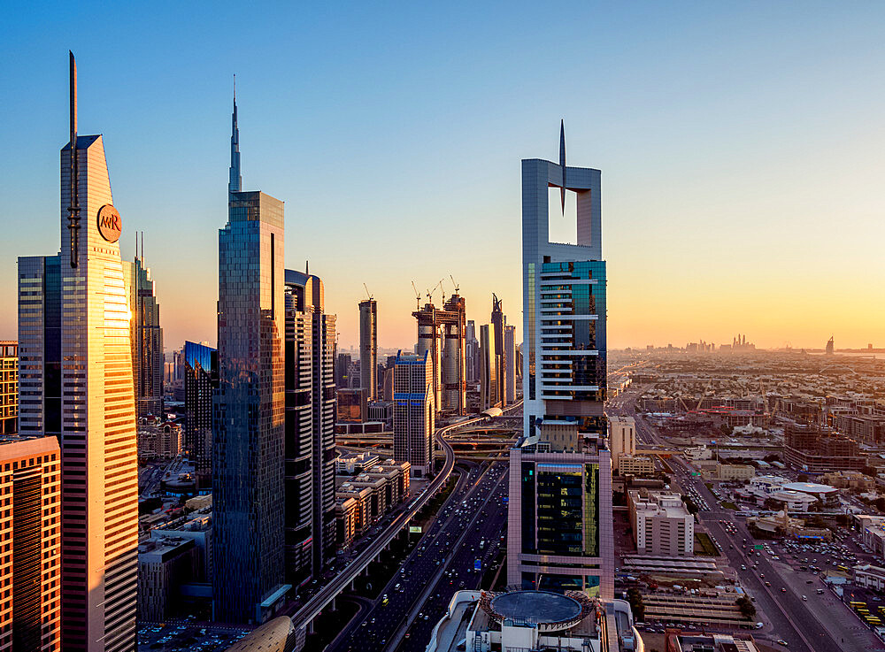 Dubai International Financial Centre at sunset, elevated view, Dubai, United Arab Emirates, Middle East - 1245-981
