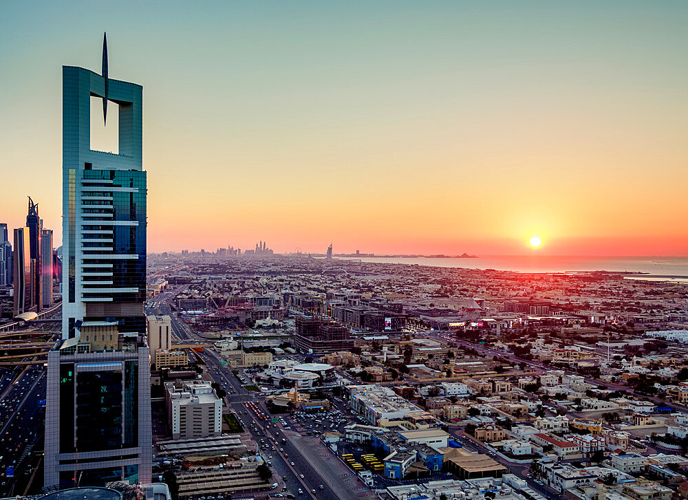 Dubai International Financial Centre at sunset, elevated view, Dubai, United Arab Emirates, Middle East