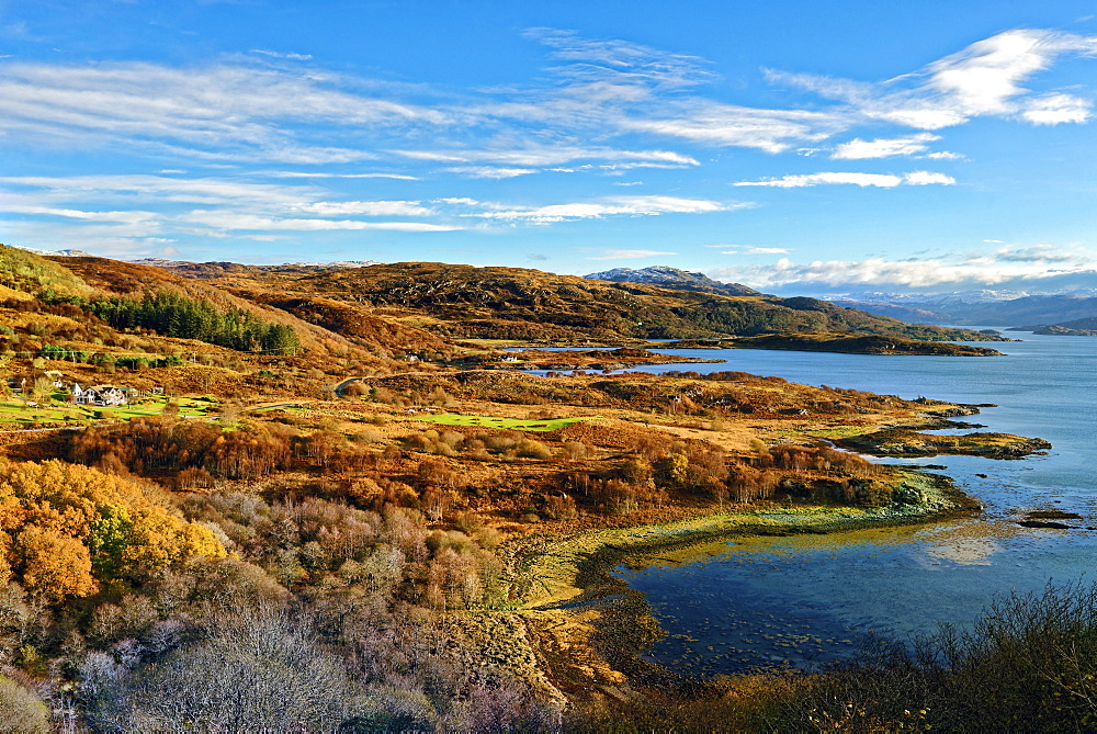 Sweeping autumn view of the tree covered hills and valley along the banks of Loch Sunart in the Ardnamurchan Peninsula, Highlands, Scotland, United Kingdom, Europe