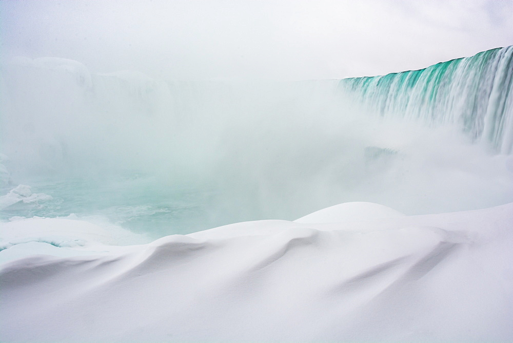 Frozen Niagara Falls in January, view from beneath the falls, Ontario, Canada, North America - 1247-185