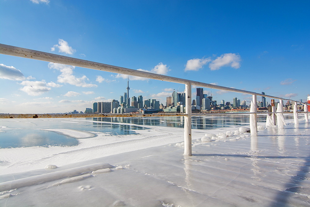 Frozen Toronto views from Polson Pier, Toronto, Ontario, Canada, North America - 1247-194
