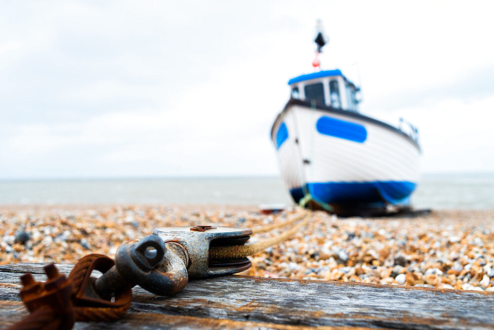 March 2019, Dungeness, Kent, England, the fishing boat is anchored to the block and tackle - 1247-211