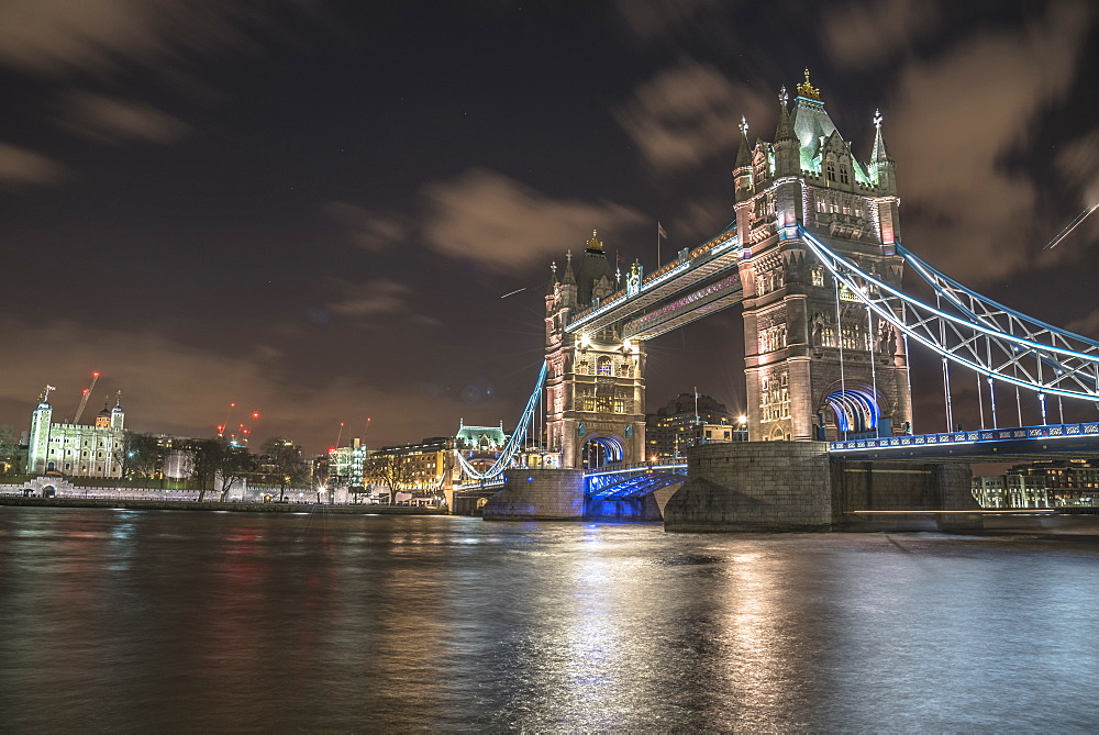 Tower Bridge and The Tower of London at night, London, England, United Kingdom, Europe - 1247-26