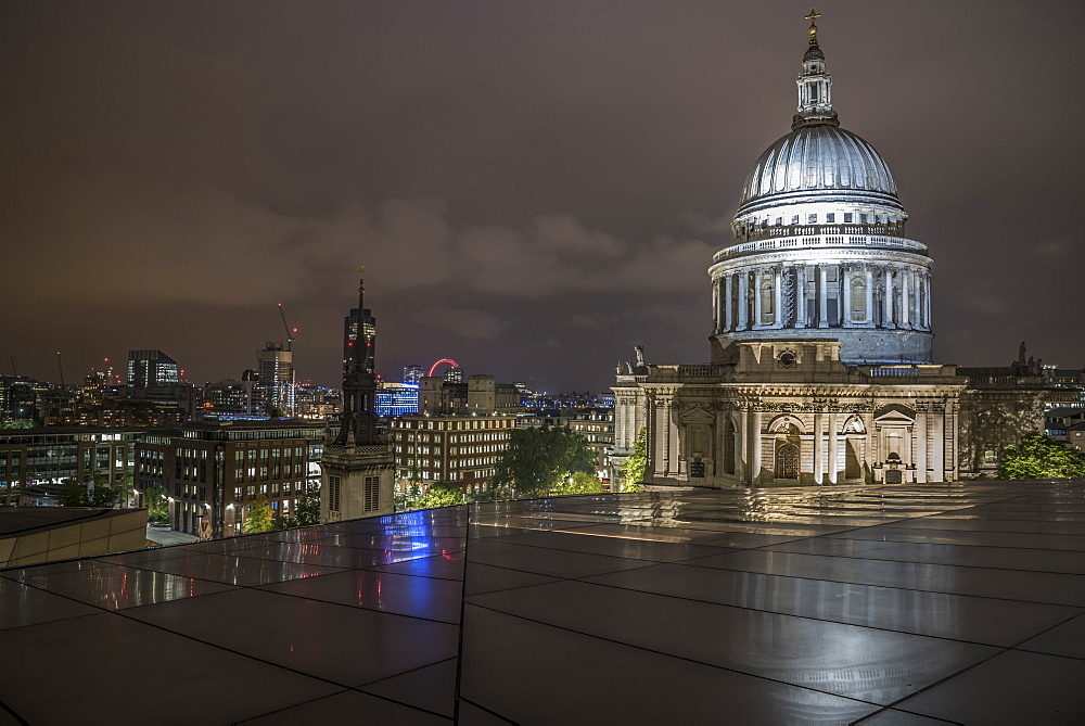 Floodlit dome of St. Pauls Cathedral at night from One New Change, City of London, London, England, United Kingdom, Europe