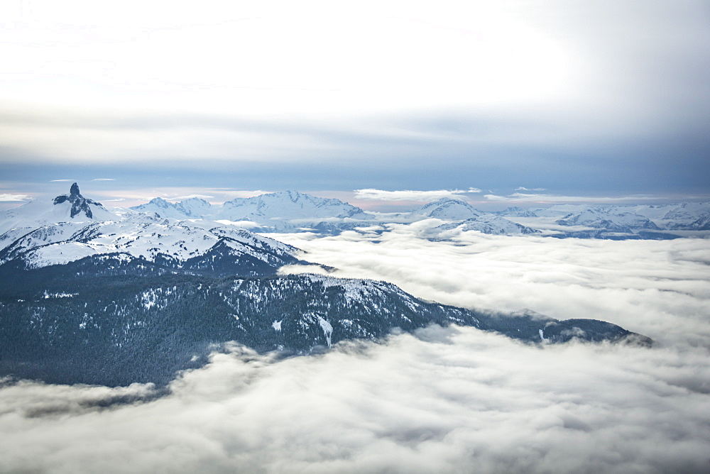 Wide angle view of Black Tusk from the Peak of Whistler Mountain, British Columbia, Canada, North America - 1247-37