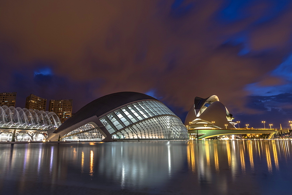 City of Arts and Sciences at night, Valencia, Spain, Europe - 1247-42