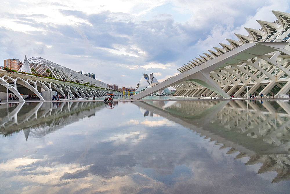 A buggy has a perfect reflection at the Valencia City of Arts and Sciences, Valencia, Spain, Europe - 1247-44