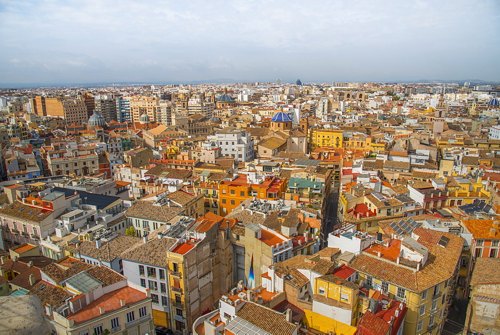 The view over Valencia from Valencia Cathedral, Valencia, Spain, Europe - 1247-46