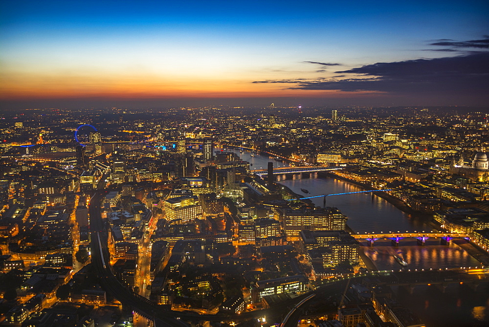 Sunset view over London, from The Shard, London, England, United Kingdom, Europe - 1247-5