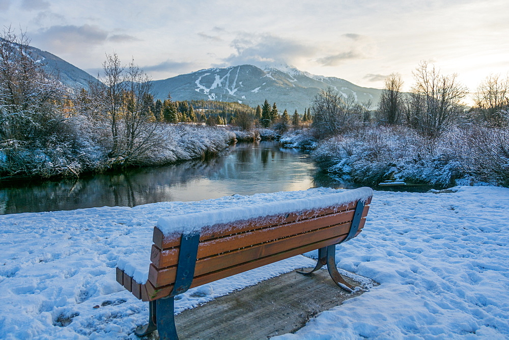 Snow covered bench at Meadow Park with views of the River of Golden Dreams and Whistler Mountain in Whistler, British Columbia, Canada, North America - 1247-53