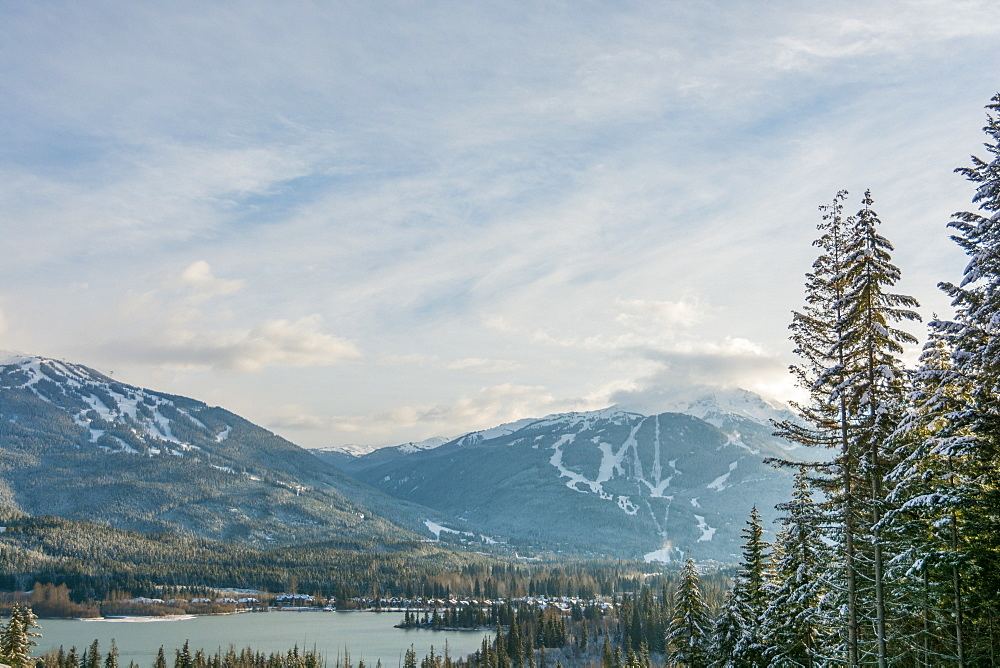 View of Whistler and Blackcomb mountains and Green Lake from Rainbow, British Columbia, Canada, North America - 1247-55