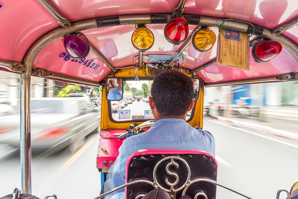 December 2017 Riding on the back of a Tuk Tuk in Bangkok Thailand