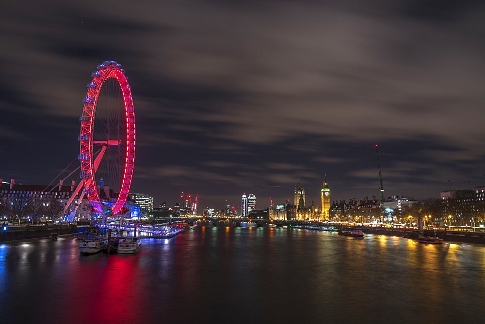 The view of the London Eye, River Thames and Big Ben from the Golden Jubilee Bridge, London, England, United Kingdom, Europe - 1247-8