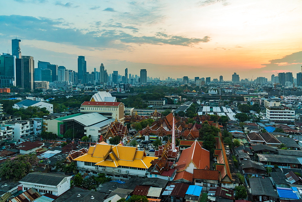 January 2018 Bangkok Sunset from city viewpoint