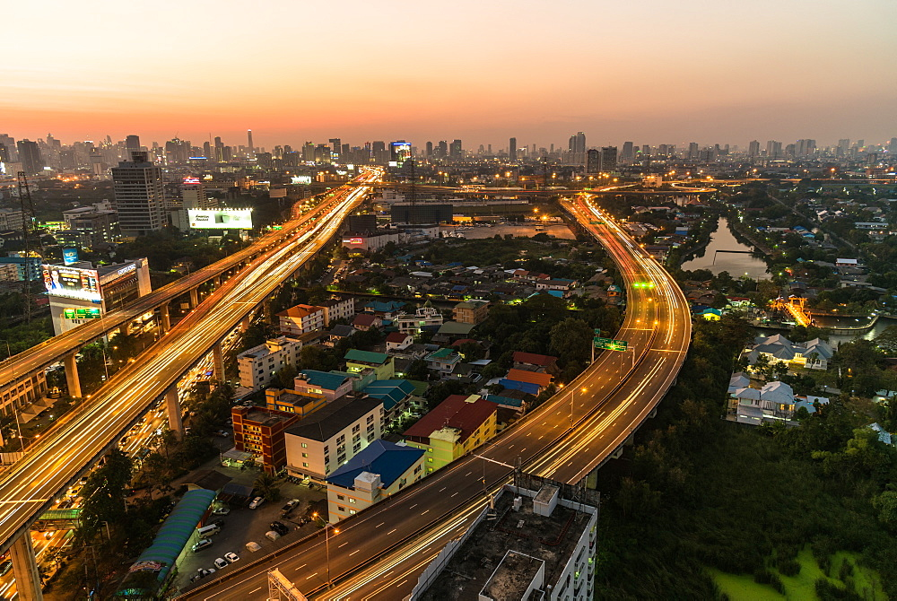 Sunset from city viewpoint, Bangkok, Thailand, Southeast Asia, Asia
