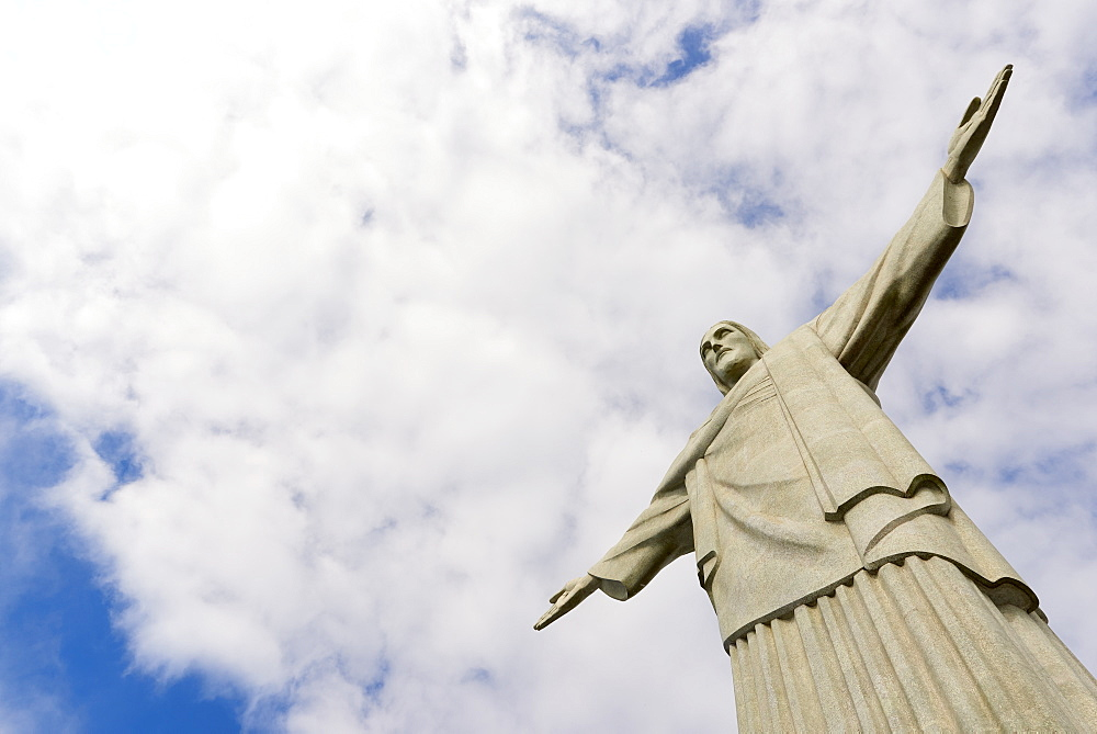 Low angle cropped shot of the iconic statue of Christ the Redeemer on a cloudy day, Rio de Janeiro, Brazil, South America - 1248-38
