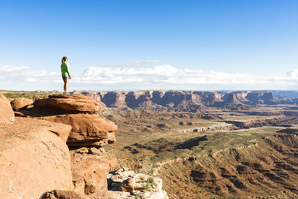 Woman admiring the landscape, Canyonlands National Park, Moab, Utah, United States of America, North America