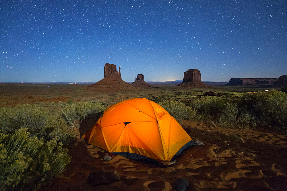 Tent in Monument Valley Campground at night. Monument Valley, Navajo Tribal Park, Arizona, Usa.