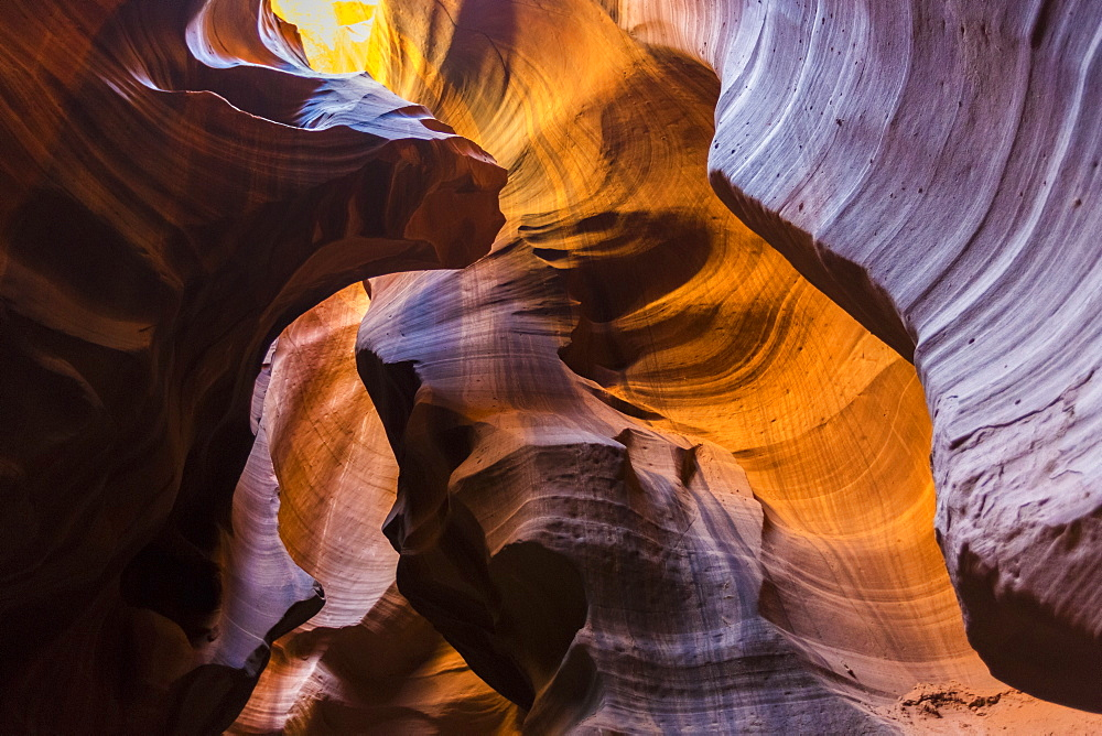 Lights and shadows in Upper Antelope Canyon, Navajo Tribal Park, Arizona, United States of America, North America