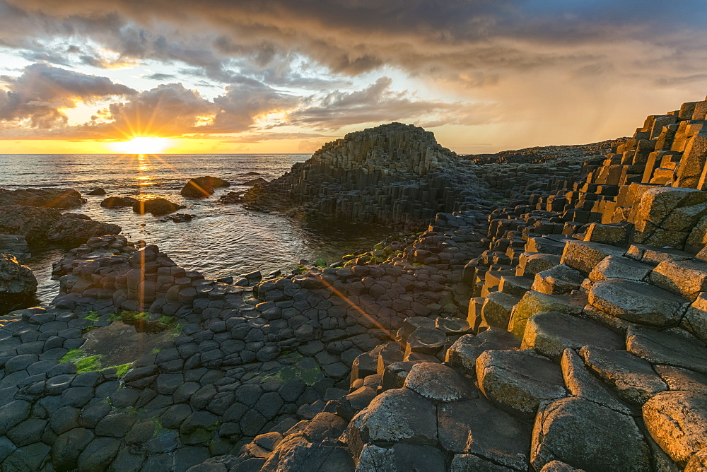 Giants Causeway at sunset, UNESCO World Heritage Site, County Antrim, Ulster, Northern Ireland, United Kingdom, Europe