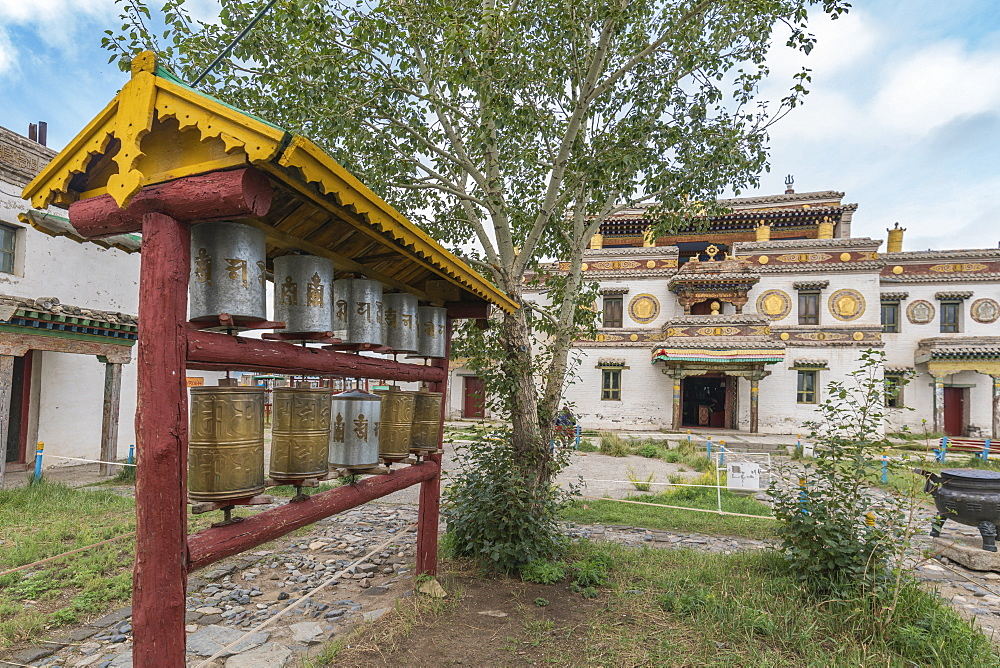 Prayer wheels in the gardens of Erdene Zuu Buddhist Monastery, Harhorin, South Hangay province, Mongolia, Central Asia, Asia