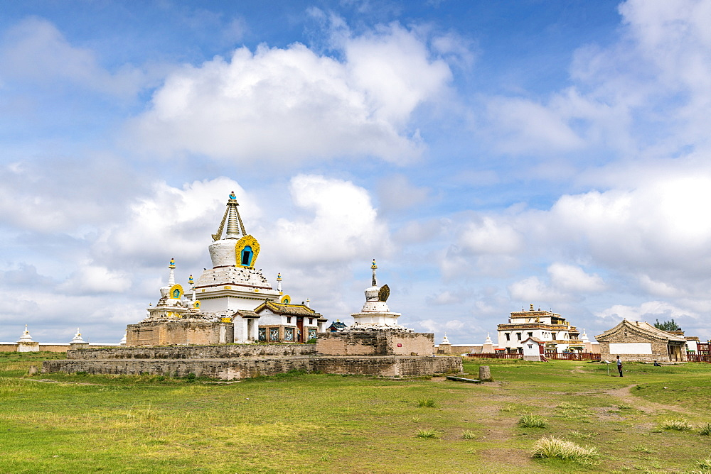 Stupas and buildings in Erdene Zuu Monastery, Harhorin, South Hangay province, Mongolia, Central Asia, Asia
