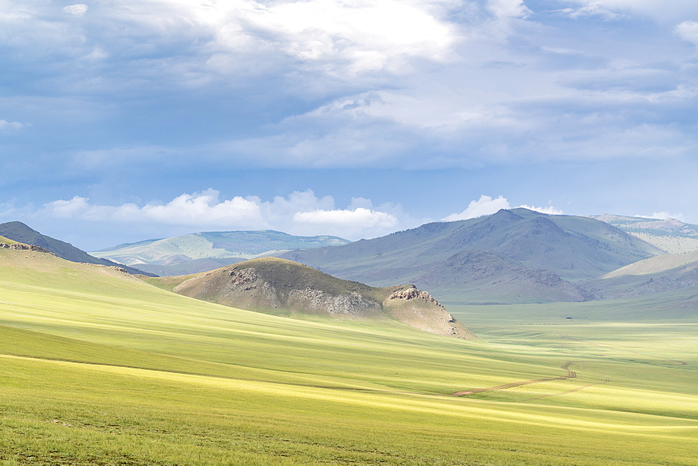 Landscape of the green Mongolian steppe under a gloomy sky. Ovorkhangai province, Mongolia. - 1251-337