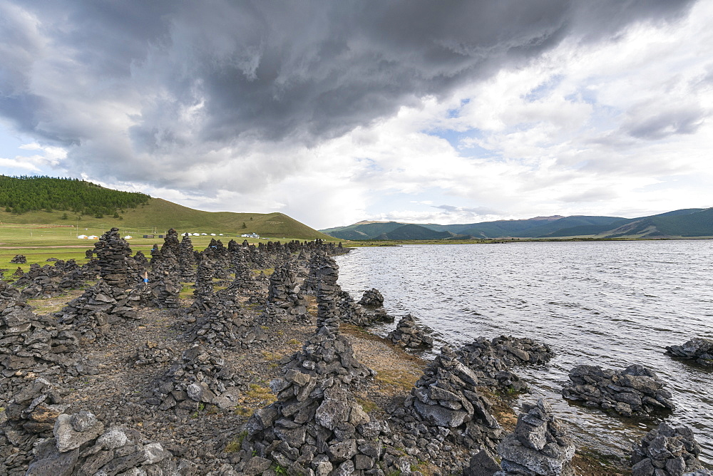 Volcanic rock formations on the shores of White Lake. Tariat district, North Hangay province, Mongolia.