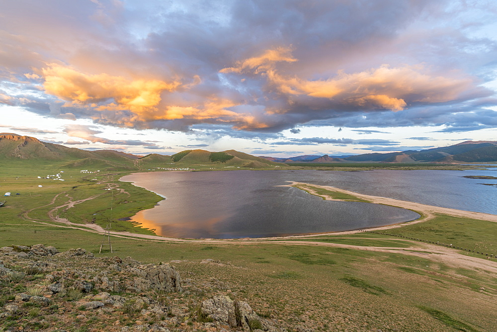 Sunset over White Lake. Tariat district, North Hangay province, Mongolia.
