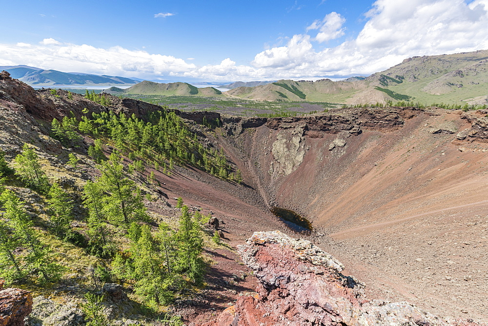 Khorgo volcano crater and White Lake in the background, Tariat district, North Hangay province, Mongolia, Central Asia, Asia - 1251-352