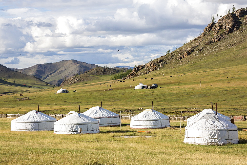 Tourist ger camp and Khangai mountains. Burentogtokh district, Hovsgol province, Mongolia.