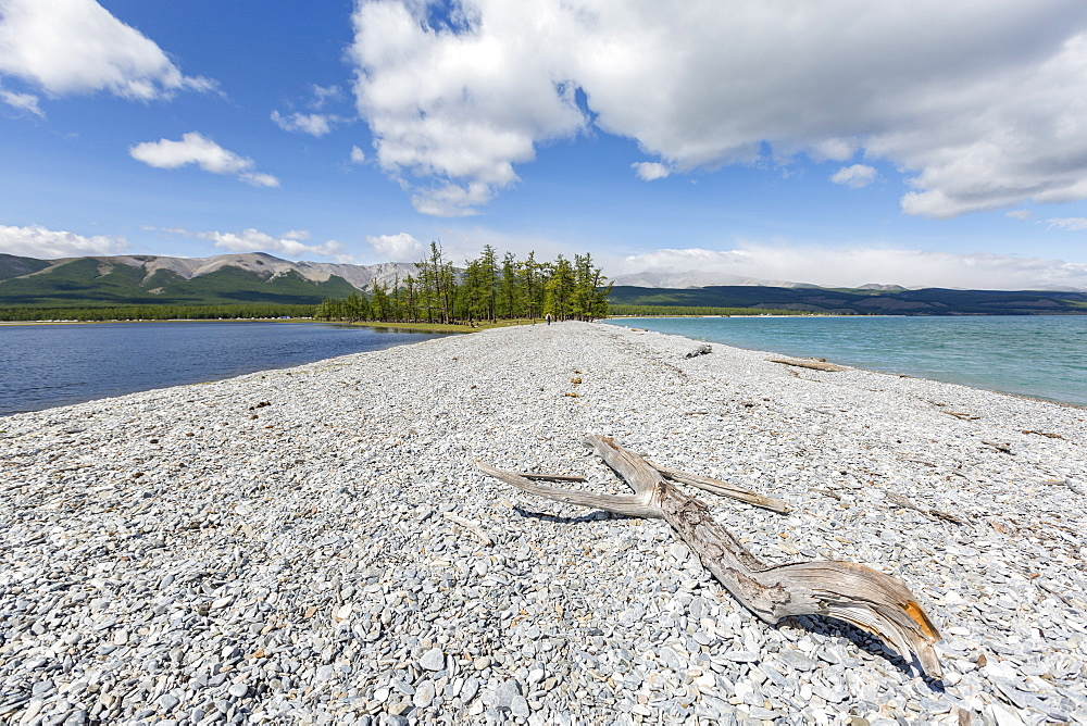 Pebble shores of Hovsgol Lake. Hovsgol province, Mongolia.